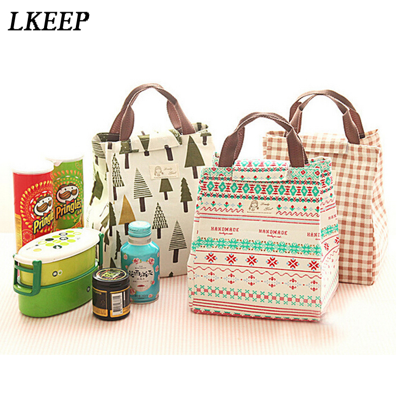 Canvas Lunch Bag Thermal Cooler Lnsulated Printed Lunch Carry Storage Picnic Bag Pouch Bento Lunch Bag Handbag RV879235