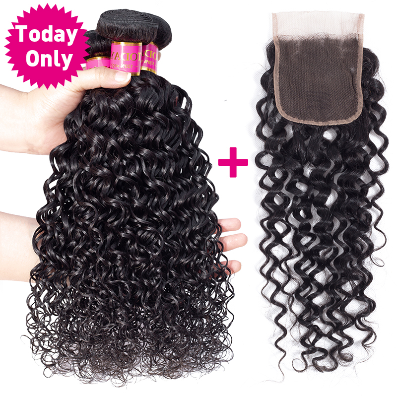 TODAY ONLY Peruvian Water Wave Bundles With Closure Remy Human Hair Bundles With Closure Peruvian Hair