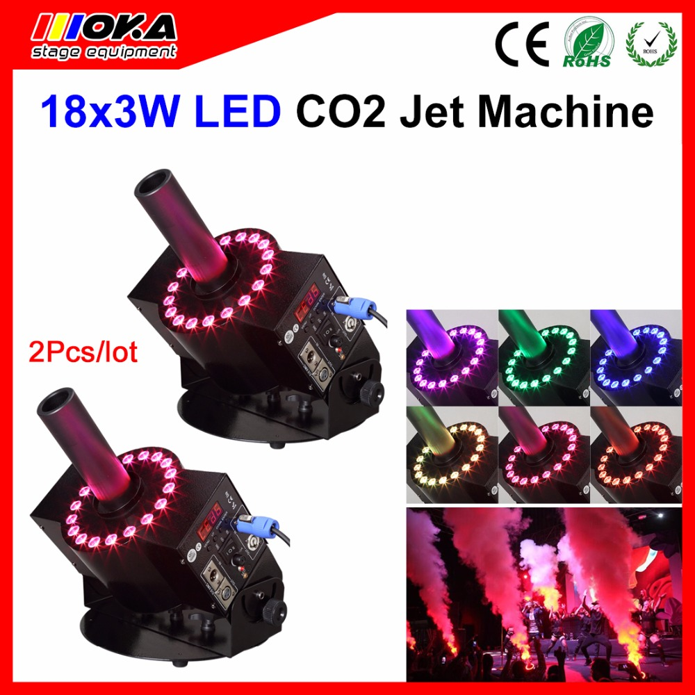 2 pcs 18 LED Cryo Jet Special Co2 jet Machine LED Jet co2 Cannon Dmx Controller Gun Stage Effect Machine