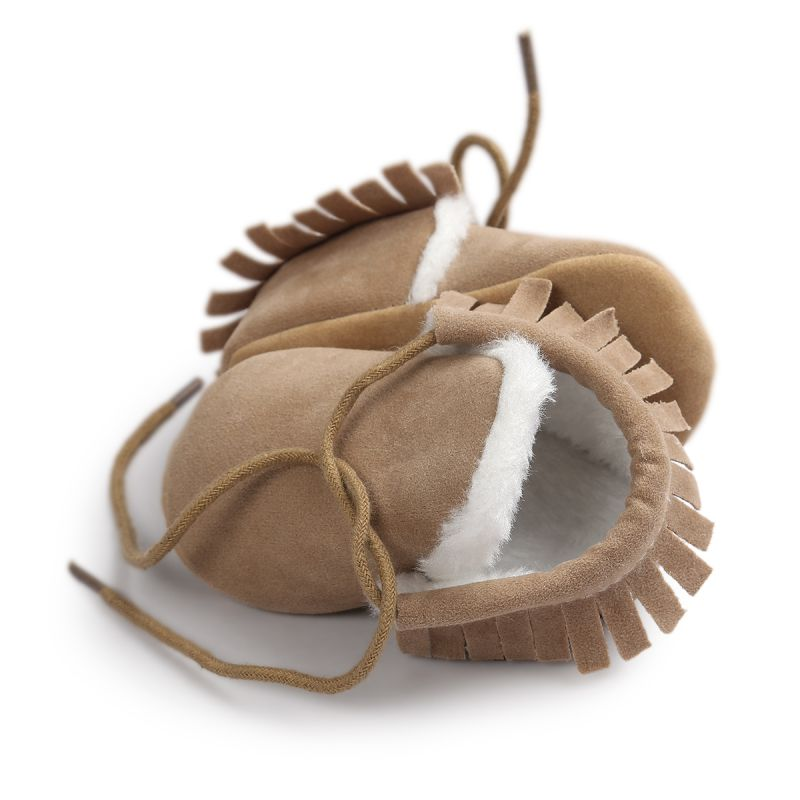 Autumn Winter Infant Baby Boys PU Shoes Sweet Kids Fringe Soft Lace Up Toddler Cack First Walkers Shoes