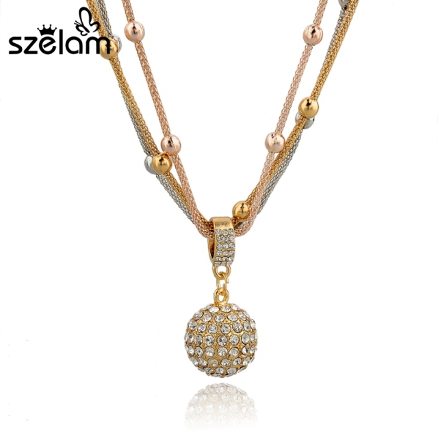 Szelam crystal ball necklaces pendants hot sale lovely fashion gold szelam crystal ball necklaces pendants hot sale lovely fashion gold necklace long chain necklace for women aloadofball Images
