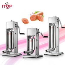 ITOP Manual Double Speeds Sausage Stuffers 3L/5L/7L Stainless Steel Sausage Fillers 4 Funnels Commercial Heavy Duty Machine