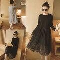 3xl plus tamaño grande ropa 2017 primavera verano otoño vestidos de corea lindo dulce traje nuevo vestido de encaje negro mujer A2494