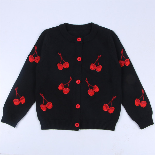 2f767fb10539 Autumn Girls Cardigan Cherry Printed Sweaters Child Baby Knitted ...