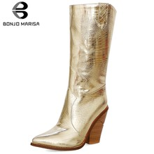 BONJOMARISA half-knee Boots Woman 2019 Hot Sale Wooden Blocked Heels Boots Slip On Mid Calf Ladies Boots Woman Big Size 34-44(China)