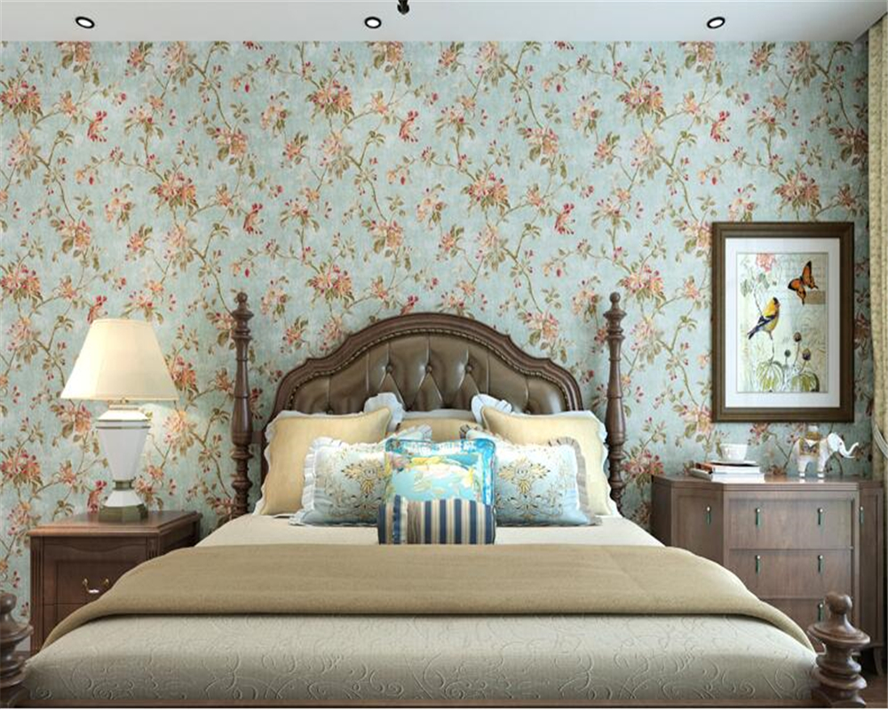 beibehang American country papier peint wallpaper Idyllic green vintage style non-woven wallpaper Bedroom living room background beibehang pure non woven wallpaper fresh korean style small floral wall paper bedroom living room children s room papier peint