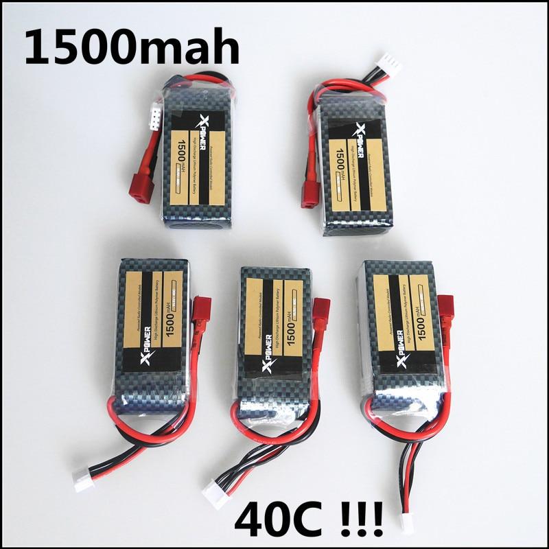 HOT 5pcs Xpower LiPo Battery 11 1V 1500Mah 3S 40C MAX 60C T Plug For RC