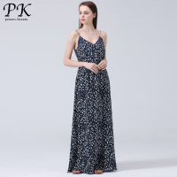 PK 2017 Summer Maxi Dress Midi Split Boho Dress Polka Dot Printed Long Beach Casual Floral
