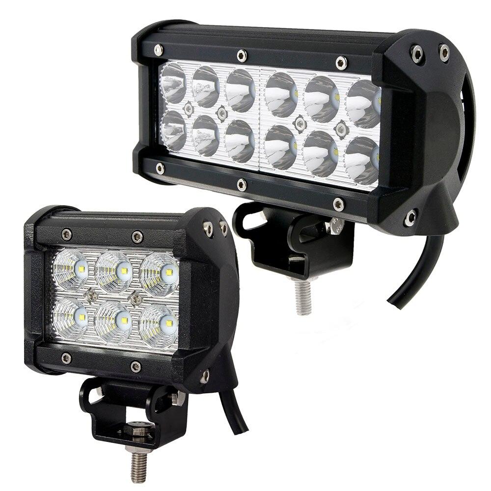 Prix pour Weketory 2 pcs 4 pouce 18 W/7 pouce 36 W LED Light Work Lamp pour Moto Tracteur Bateau Off Road 4WD 4x4 Camion SUV ATV D'inondation de Tache