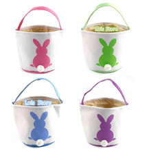 Convas Rabbit Printed Easter Rabbit Basket Eggs Bunny Easter Decorative Bag Egg Decorations Decors Ornaments Party Tote Gift Bag(China)