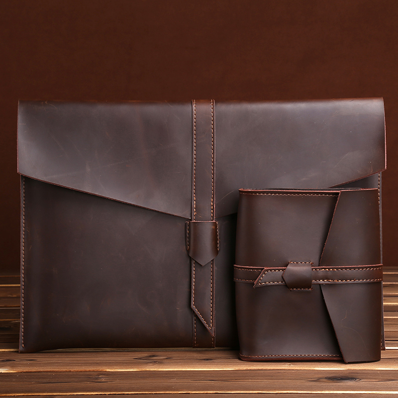 Genuine Leather A4 Filing Documents Bag 13 / 15 Inch Macbook Pro IPad Pro Storage Bag Inner Jacket Notebook Tablet Protector