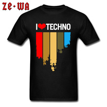 Rainbow I Love Techno Print Tshirts Queen Rock Music 100% Cotton Crew Neck Male Tees Personalized Band T-shirts High Quality Men