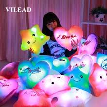 VILEAD LED Flashing PP Cotton Stuffed Cushion Soft Plush Toy Smiley Sleeping Pillow Emoji Pillow Decorative Cushions for Sofa