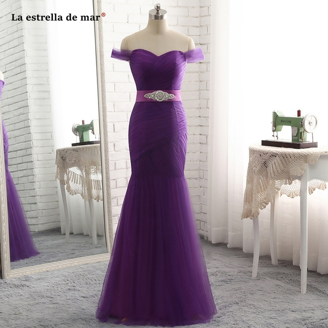 1b227e95b7742 robe demoiselle d honneur 2019 new tulle crystal V neck cap sleeve sexy  mermaid purple bridesmaid dress long plus size