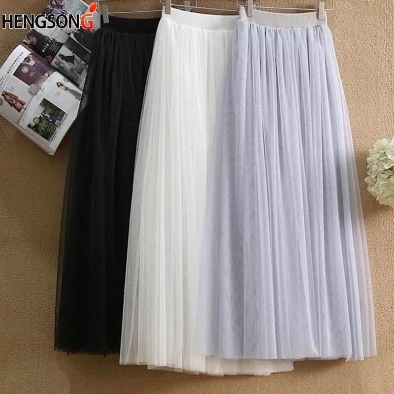 Women's fashion Elastic High Waist Tulle Mesh Skirt Long Pleated Tutu Skirt With Lined Female Jupe Longue Vintage Skirts
