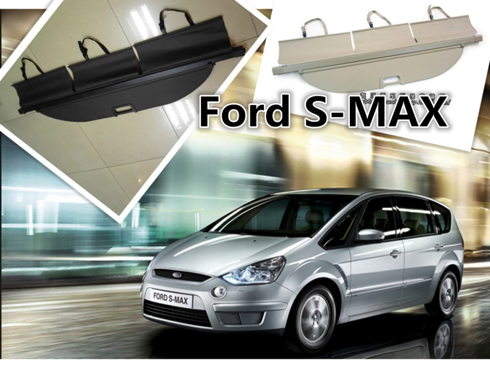 Car Rear Trunk Security Shield Cargo Cover For Ford S-MAX 2007-2015 High Quality Trunk Shade Security Cover car rear trunk security shield cargo cover for ford everest 2015 2016 2017 high qualit black beige auto accessories