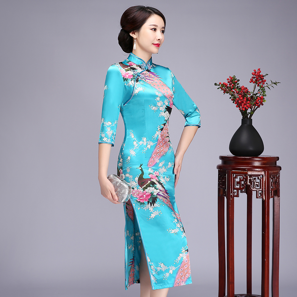 Floral&Peacock Chinese Lady Plus Size Qipao S-6XL Elegant 3/4 Sleeve High Qplit Cheongsam Print Rayon Traditional Dress Gown