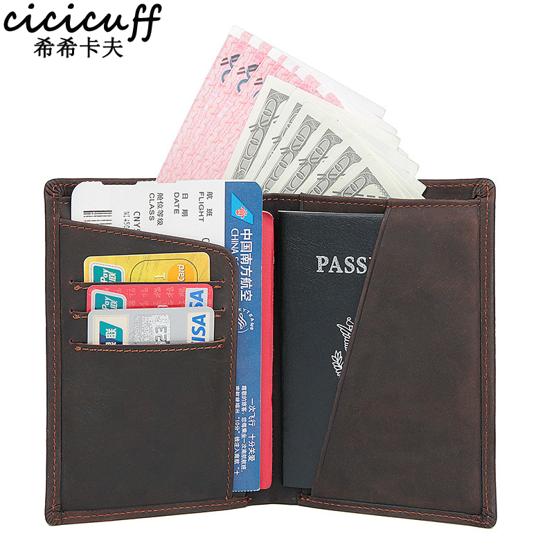 CICICUFF Natural Leather Passport Clip Wallet Unisex Genuine Leather On Cover For Passes Banknote Credit Card Holder Case Purse