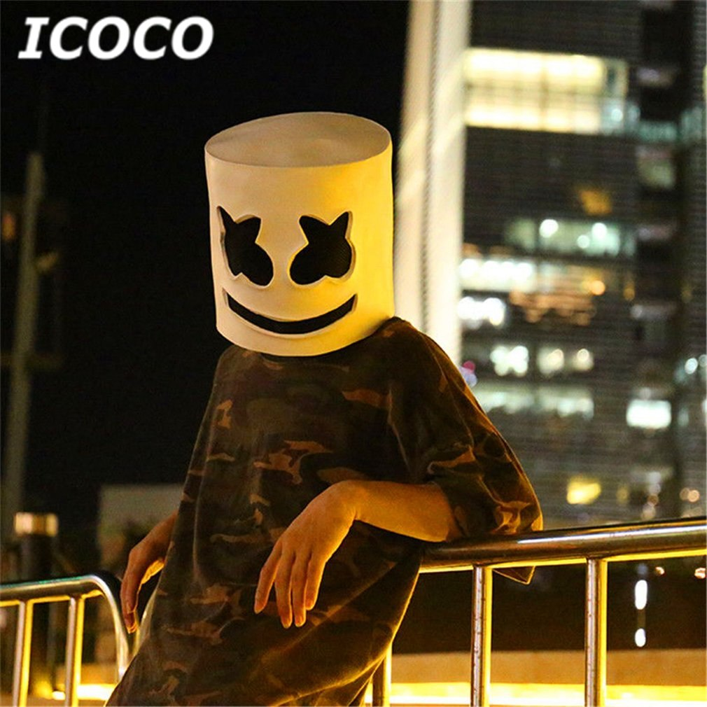 New Arrival Fashionable Halloween Party Night Club Latex White Mask Adult DJ Marshmallow Mask Cosplay Costume Helmet Sale