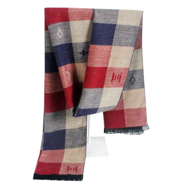 Мода классический бренд имитация Кашемира шарф мужчины Зима толстый Теплый Плед Шарф мужской полноценный cachecol Шали и шарфы