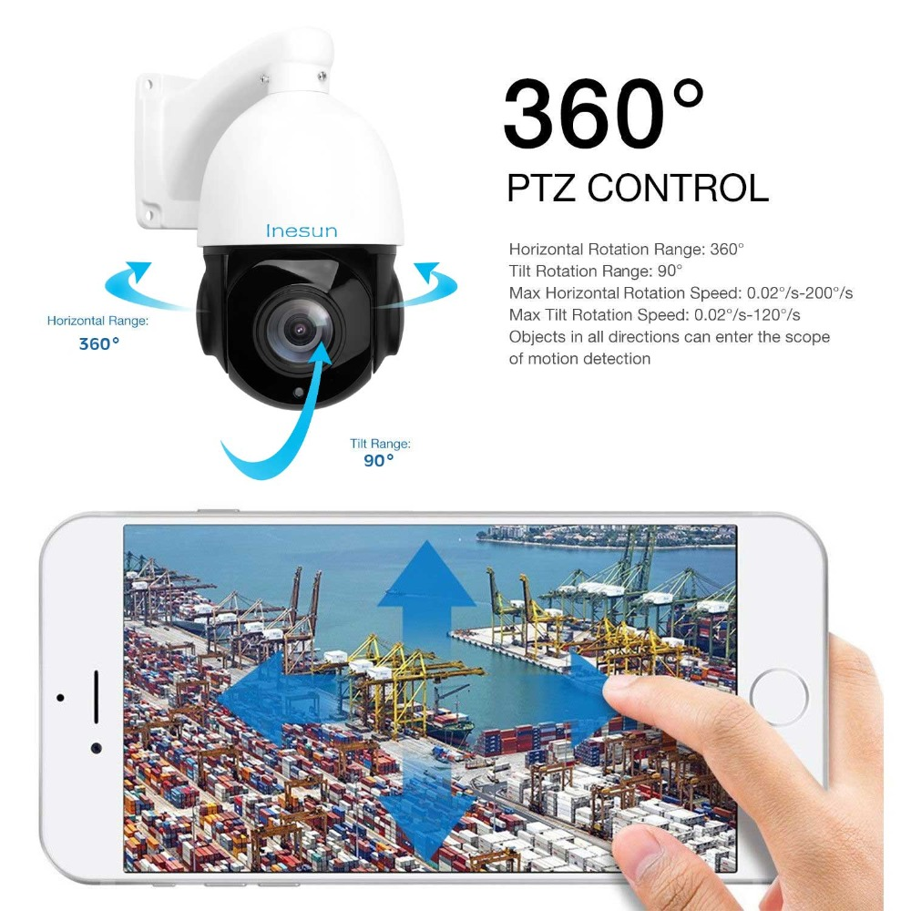 Image 5 - Inesun Outdoor PoE PTZ IP Camera 2MP 1080P 30x Optical Zoom PTZ Camera Waterproof Support Motion Detection 300ft IR Night Vision-in Surveillance Cameras from Security & Protection