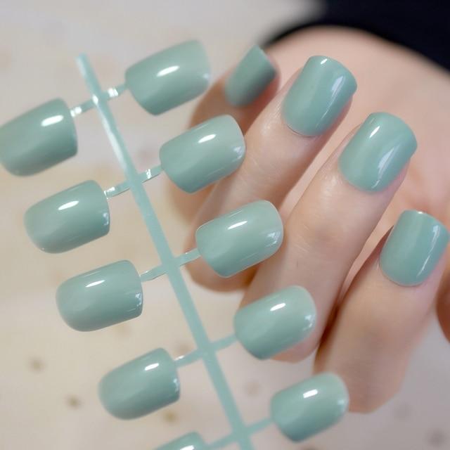 Shiny Candy Milk Deep Green Nail Tip DIY Finger Short Full Cover ...