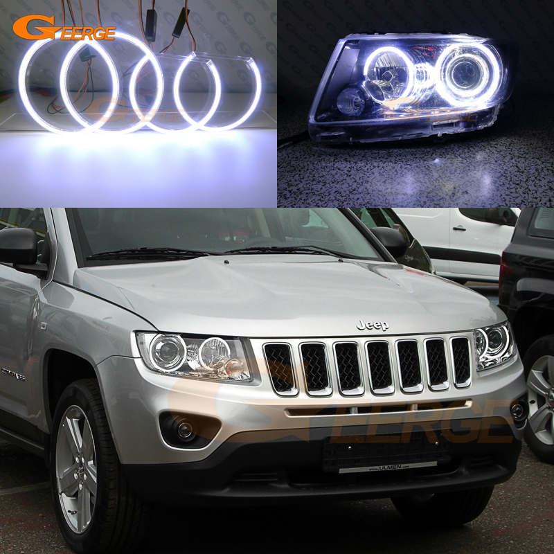 For JEEP COMPASS 2011 2012 2013 2014 2015 2016 Xenon headlight Excellent Ultra bright illumination COB led angel eyes kit 10pcs canbus t10 8smd 5630 5730 led car light canbus no obc error t10 w5w 194 8 smd led bulb white 12v