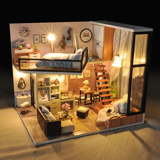 Doll House Furniture Diy Miniature Dust Cover 3D Wooden Miniaturas Toy villa Dollhouse Toys Birthday Gifts Box theater casa