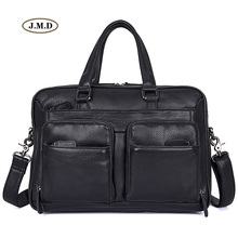 J.M.D New Arrivals 100% Genuine Cow Leather Briefcase Handbag Black Color Business Men Messenger Bag Shoulder Bag 7373A недорого