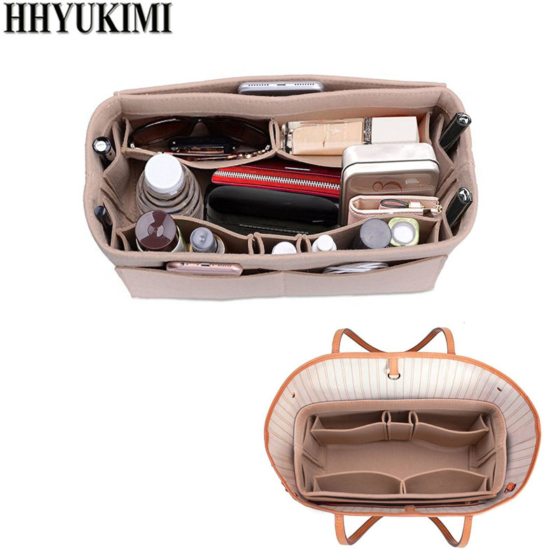 Womens Makeup Organizer/Felt Cloth Insert Storage Bag Multifunctional Cosmetic Bag Handbag Insert Bag For Travel Organizer