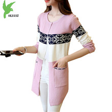 New Women Spring Autumn Knitted Sweater Cardigan Fashion Printed Medium Length Casual Costume Loose Elegant Jacket OKXGNZ A921