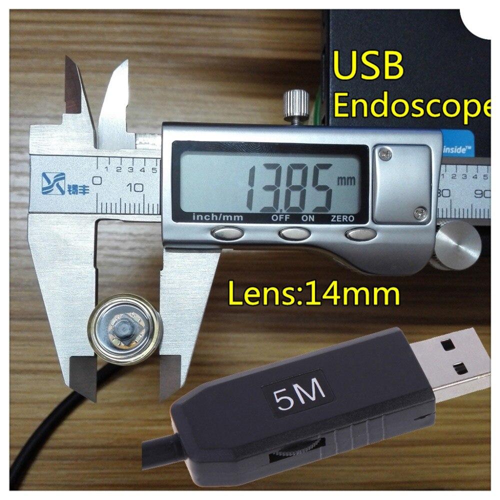 imágenes para CameraUSB 14mm Lente Impermeable Boroscopio endoscopio Inspección Cámara de Vídeo 4 LED Cabeza de Cobre Len Inspección Boroscopio 5 M/10 M/15 M