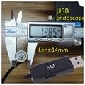 NOVO USB Endoscópio 14mm Lens Endoscópio Inspeção Câmera De Vídeo À Prova D' Água 4 LED Inspeção Borescope Len de Cabeça de Cobre 5 M/10 M/15 M