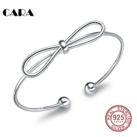 CARA New Ladies 925 Sterling Silver Bangles Bracelet Cute Bowknot Silver Women Bangles Fashion Jewelry Bracelet