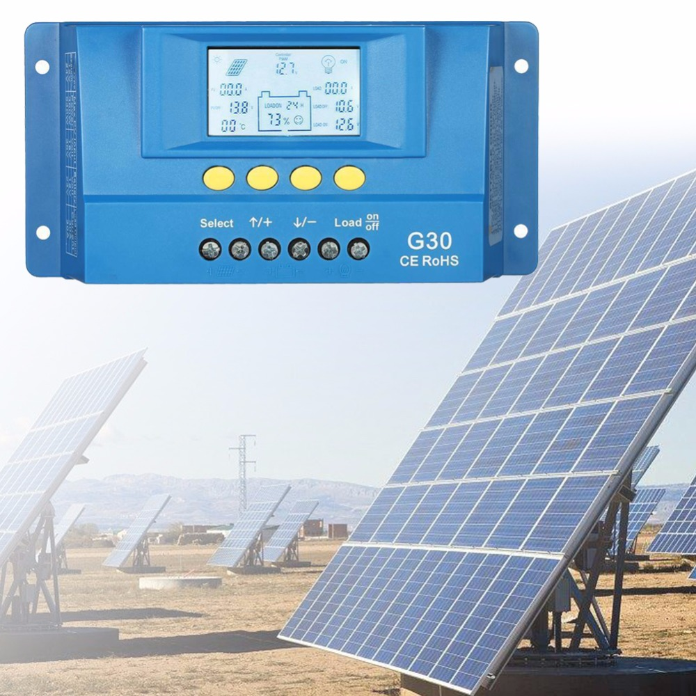 10A 20A 30A 60A 80A PWM 12V 24V Solar Controller LCD Cells Panel Battery Charge Regulator for 130W 260W 540W Solar System#264602 1pcs intelligent pwm 20a 12v 24v solar panel charge adapter regulator controller for solar power control
