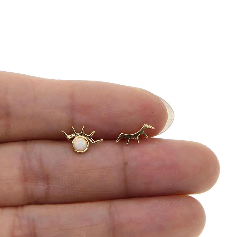 Thanh lịch độc đáo gái quà tặng trang sức dễ thương đáng yêu thời trang bông tai stud màu vàng với trắng lửa opal top chất lượng trang sức