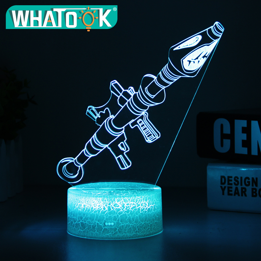 3D Scar Lamp Rocket Launcher LED Night Lamps Fortnit 3D Lights 7 Color Changing for Bedroom Home Decor Birthday Boys Gifts Toys