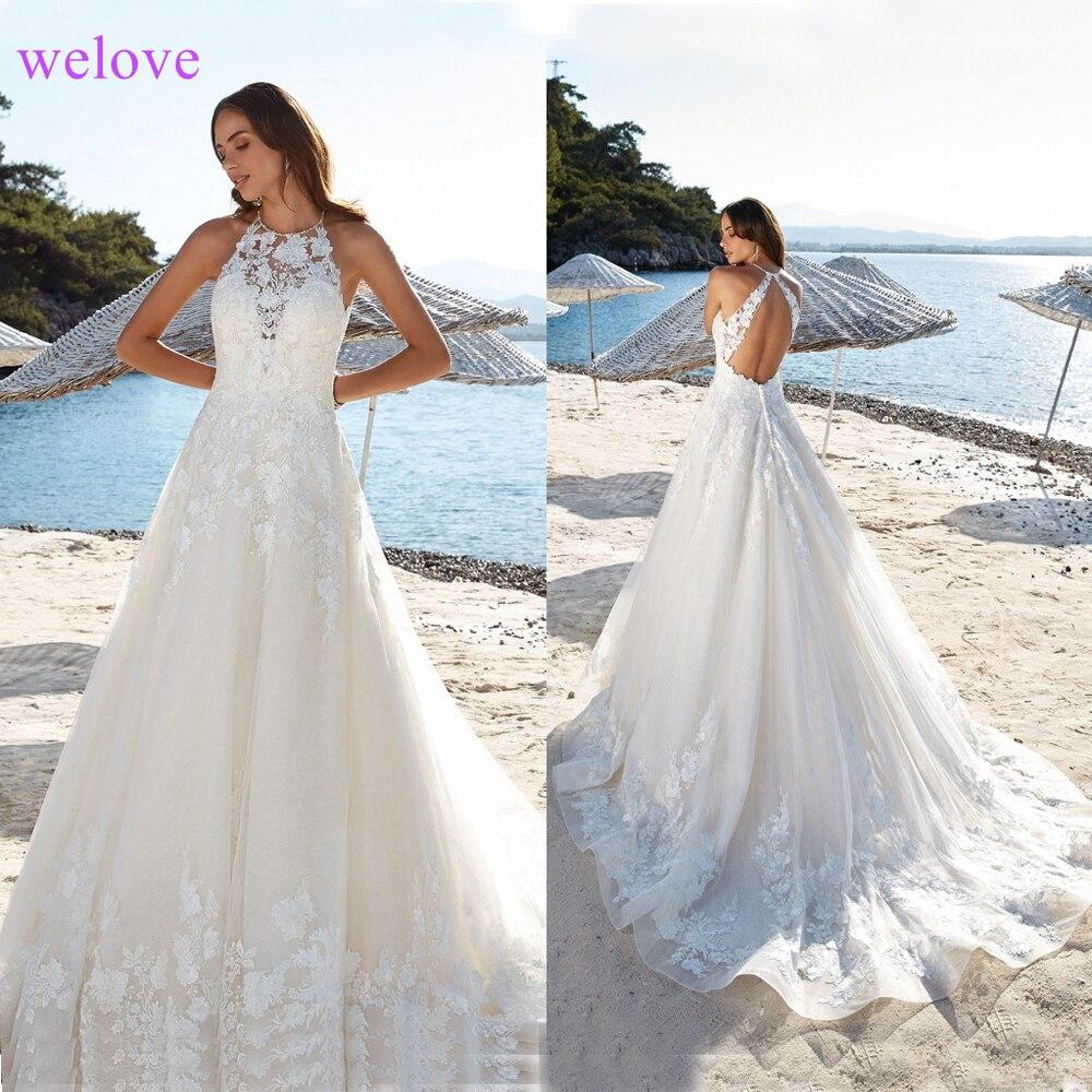 Custom Made Appliques O Neck Embroidery Vestido De Noiva Cheap Neck Lade A Line Wedding Dress