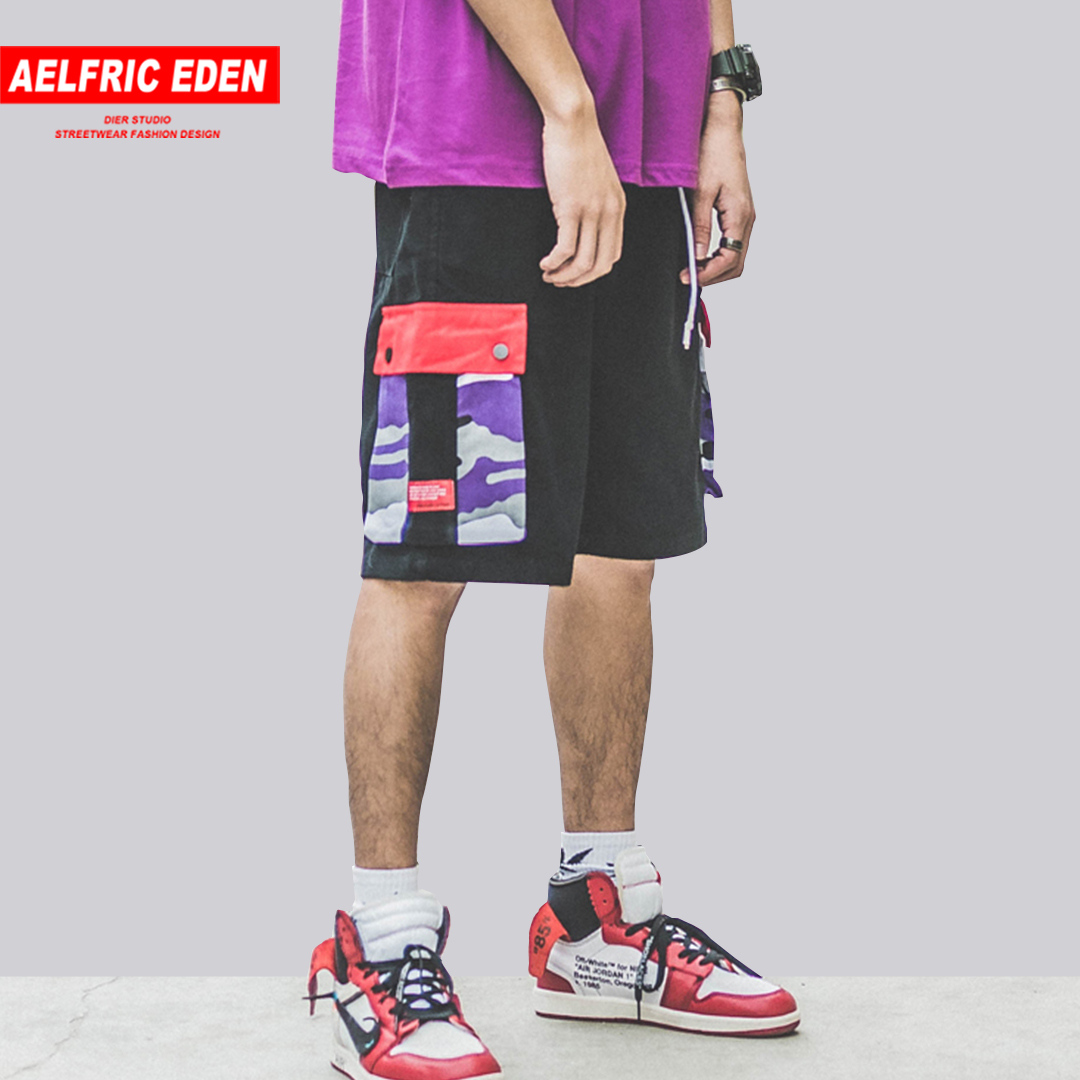 Aelfric Eden 2019 Highstreet Loose Colorful Camouflage Military Short Pants Streetwear Mid Multi-pockets DRawstring Mens Shorts