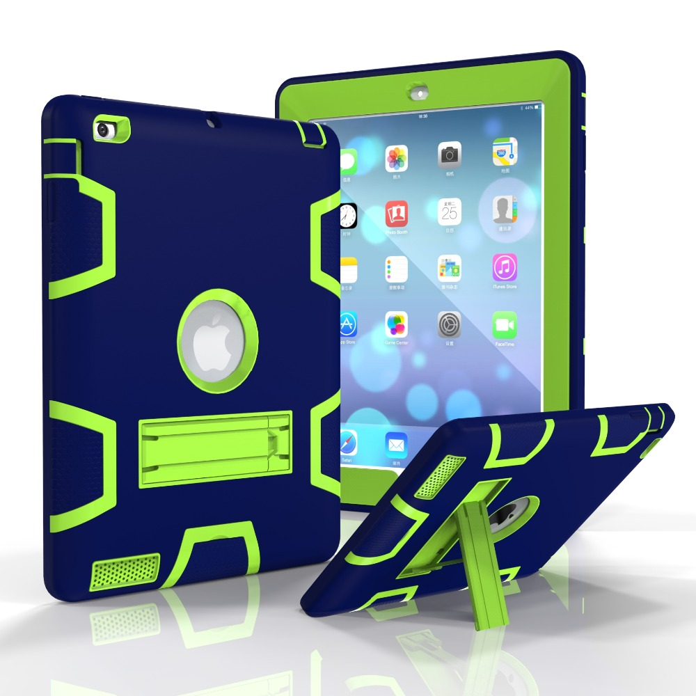 case for Apple ipad 2 3 4 , YRSKV-NEW Silica gel+PC Duty Drop resistance Shock Proof tablet shell, For ipad 4/3/2 case silicone shock proof fall proof dust proof case w stand for ipad air 2 9 7 camouflage black