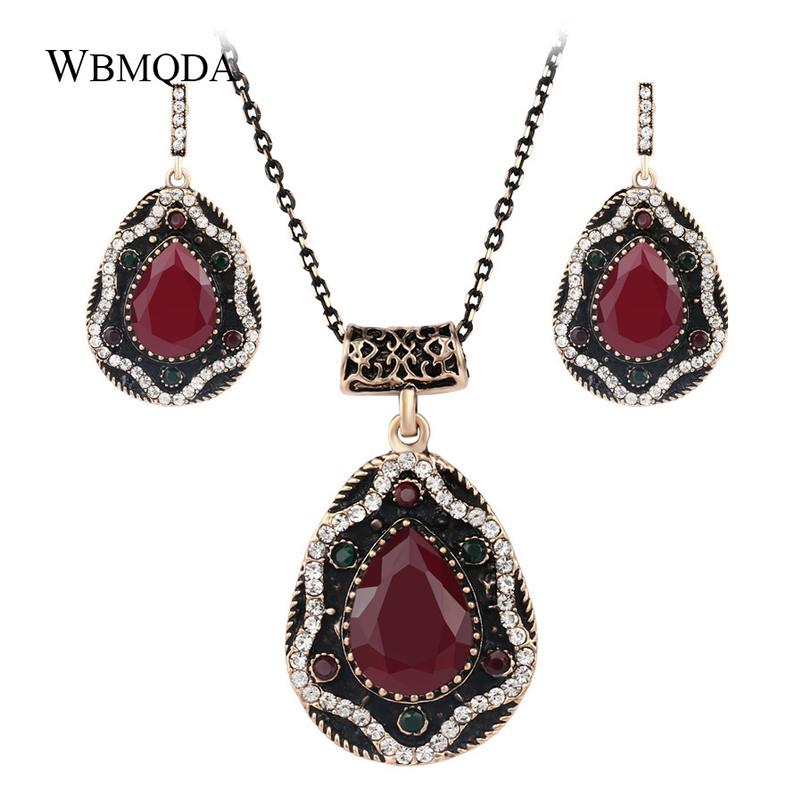 2 Pcs/lot 2018 Vintage Ethnic Turkish Jewelry Sets Red Resin Crystal Antique Gold Color Earrings And Necklace For Women