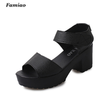 Size 35-41 Summer Peep-toe Woman Sandals,Platform Thick Heel Women Shoes Hook & Loop All Match Shoes For Ladies sandalias mujer