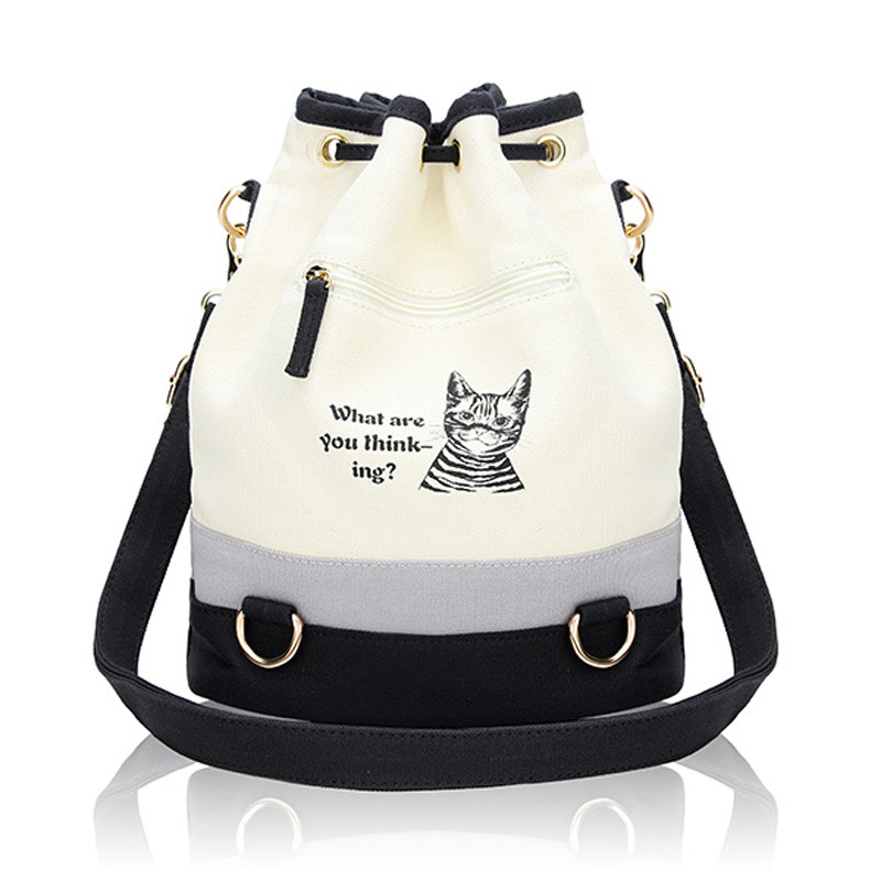 2016 New Fashion Retro Women Canvas Bucket Bags Cute Cat Print ...