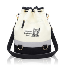 Canvas Bucket Bag With Cute Cat Print