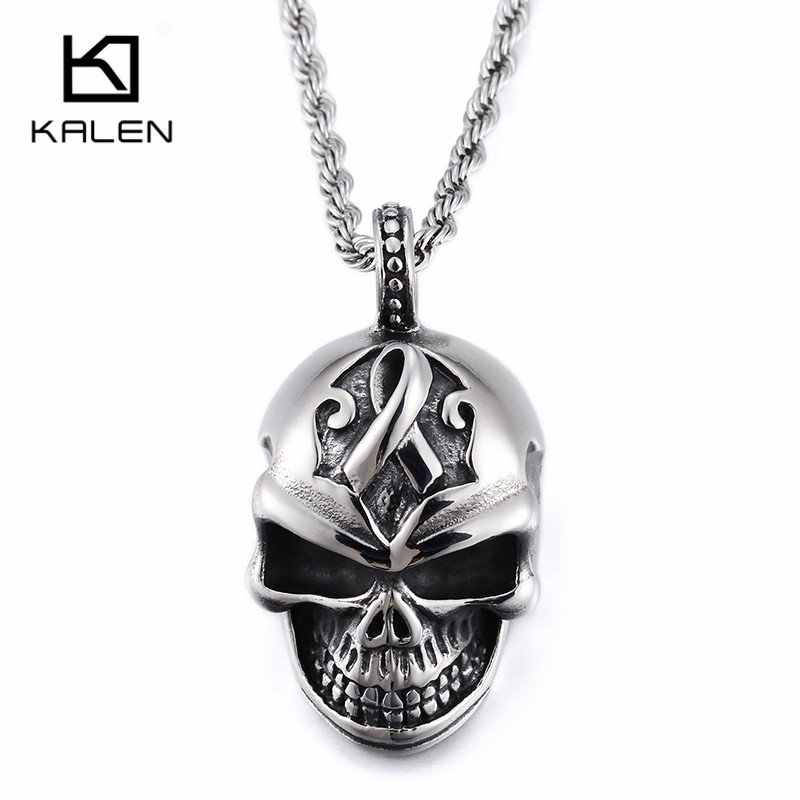 Kalen New Punk Skull Pendant Necklace Mens Stainless Steel