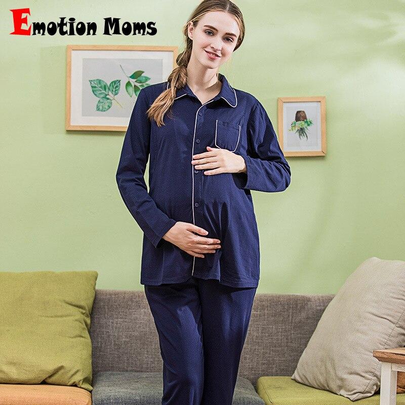 Emotion Moms maternity Pajamas breastfeeding sleepwear Sets Pregnancy Nightwear Suit nursing Pajamas for pregnant women 2Pcs/Set