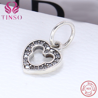 Aliexpress 100 925 Sterling Silver Mickey S Heart Beads Fit Original Pandora Charms Bracelet Authentic Luxury