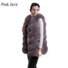 Rosa java QC8049 vendita calda cappotto da donna inverno abiti di lusso cappotto di pelliccia di volpe reale gilet di pelliccia di volpe naturale giacca di pelliccia soffice gilet di procione