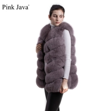pink java QC8049 hot sale women coat winter luxury clothes real fox fur coat natural fox fur vest fluffy fur jacket raccoon vest