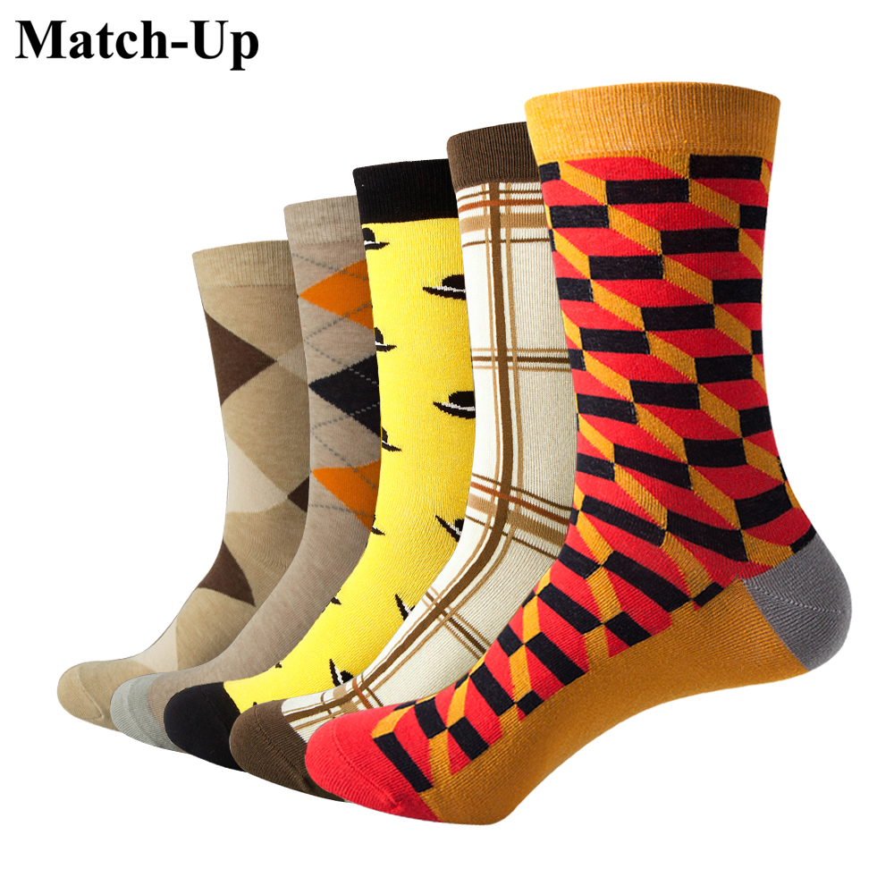Match-Up Men Colorful Argyle And Hat Style Cotton Crew Casual Socks(5 Pairs / Lot )